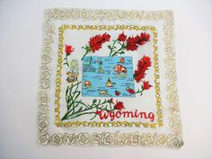 Wyoming State Souvenir Hanky Hankie Vintage 1950s Hand Rolled Rayon Silk Scarf Neckerchief  $15  https://www.rubylane.com/item/676693-CL17-56/Wyoming-State-Souvenir-Hanky-Hankie-Vintage?search=1