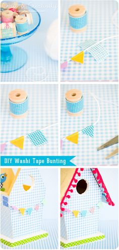 Pretty washi tape bunting and DIY birdhouse tutorial by Helena at Craft and Creativity @Helena Söderberg