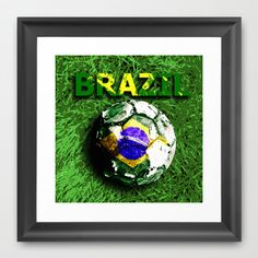 Old football (Brazil) Framed Art Print by seb mcnulty - $32.00