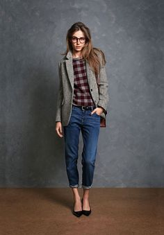 Plaid and boyfriend jeans. Such a cute back to school ...