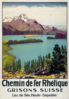 Vintage Railway Travel Poster - Grisons - Lac de Sils - Haute-Engadine - Switzerland - by Emil Cardinaux.