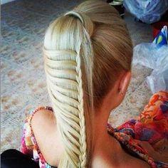 Blonde, Waterfall Braid, Ponytail