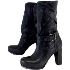 Pre-owned Vera Wang Lavender Black Strappy Mid Calf Boots ($137) ❤ liked on Polyvore featuring shoes, boots, black platform boots, genuine leather boots, buckle boots, black buckle boots and vera wang boots