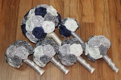 Navy Blue, Silver, Grey, & Ivory Wedding Bouquet by HeyBouquet ~  navy blue…