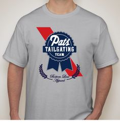 Get ready for the Patriots game with the PBR Tailgating Team New England Patriots shirt from Bottom Line Apparel. Featuring a Pabts Blue Ribbon-like design on a sports grey tee, the PBR Tailgating Team New England Patriots shirt is perfect for all New England football fans… whether you're at Gillette Stadium or you're tailgating in your own driveway! http://blshirts.com/store