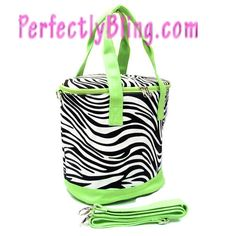 LIME GREEN - SMALL ZEBRA - INSULATED TRAVEL BAG