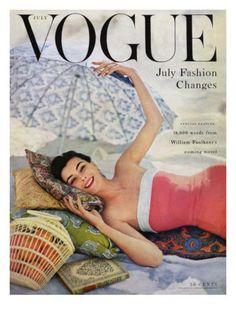 Vogue Cover - July 1954 by Karen Radkai