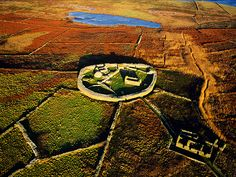 Picture of a ring fort, Inishmurray, Ireland --4 miles off sligo coast, this island is site of early christian monastic settlement. Some credit Hitler's demise to curse put on him here in WWII,In 1800's island was known for poitin making, but it is now uninhabited.