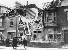 Bomb damage, West Hartlepool, World War One, 1914-1918.