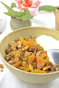 Decadent Granola - The perfect way to start your mornings with this delicious granola exploding with toasted nuts and dried fruit. THE MOST DECADENT AND INDULGENT GRANOLA!!