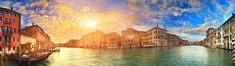 Design Art Grand Canal Venice Panorama Photographic Print on Wrapped Canvas Size: H x W x D Painting Frames, Painting Prints, Grand Canal Venice, Thomas Moran, Large Metal Wall Art, Canvas Art Prints, Online Art Gallery, Wrapped Canvas, Design Art