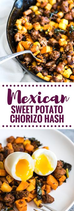 This Mexican Chorizo Sweet Potato Hash with Soft Boiled Eggs is a healthy, filling and comforting meal made with sweet potatoes, Mexican chorizo and apples. It's gluten free and paleo friendly.