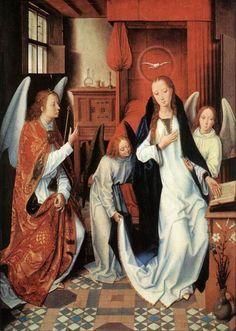 MEMLING, Hans   (b. ca. 1440, Seligenstadt, d. 1494, Bruges)  The Annunciation  c. 1489  Oil on wood, 79 x 55 cm  Metropolitan Museum of Art, New York