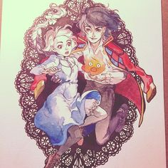 Ahhhh so tired done for today ;w; #ghibli #howlsmovingcastle #watercolour #ink…