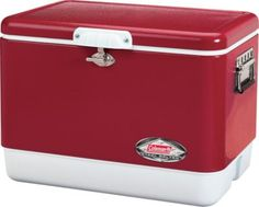"""Originally manufactured by Coleman in 1954, the Classic Steel Cooler is a company hallmark. Now, the Classic 54-Qt. Red Steel Belted Cooler from Coleman is back with today's latest cooling technology. External:  24""""L x 16""""W x 16.25""""H.  Internal:  18.5""""L x 10.25""""W x 12.9""""H.  Wt:  22 lbs.  Color:  Red."""