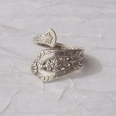 Nice Vintage Wallace Rose Point Sterling Silver Spoon Ring dmfsparkles