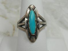 Beautiful Native American sterling silver turquoise ring   Signed by Artist by…