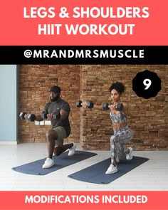 Legs & Shoulders Workout - Real Time - Diet, Exercise, Fitness, Finance You for Healthy articles ideas Full Body Hiit Workout, Hiit Workout At Home, Gym Workout Videos, Fitness Workout For Women, Gym Workouts, At Home Workouts, Fitness Men, Fitness Exercises, Fitness Logo