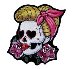 Loving Eyes Pin Up Ladies Skull Embroidered Biker Patch