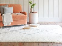 We tweaked the traditional diamond motif to soft grey to make this Berber-inspired fluffy floor rug really easy to live with. Rugs In Living Room, Home And Living, Living Room Designs, Living Room Decor, Floor Rugs, Floor Chair, Open Plan Kitchen Living Room, Comfy Sofa, Handmade Rugs