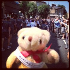 The #KaplanBear was with #KIC HQ staff to see the #OlympicTorchRelay near our #Kensington office!