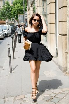 Girly Off Shoulder Lbd With Ruffles 2017 Street Style