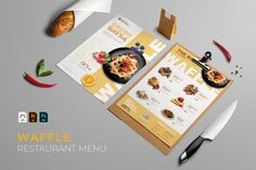Waffle | Restaurant Menu #menu #food #cafe #vector #template #restaurant #design #illustration #coffee #dessert Restaurant Menu Template, Menu Restaurant, Restaurant Design, Waffle Restaurant, Great Restaurants, Journal Cards, Food Menu, Design Bundles, School Design