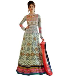 Georgette Thread & Border Work Grey Semi Stitched Long Anarkali Suit - 1010 In Stock: Rs 11,260
