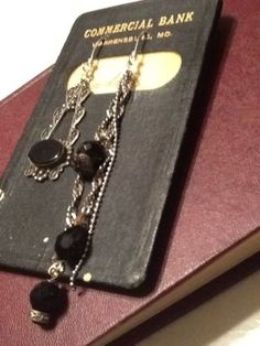 Upcycled Steampunk Vintage Sterling Black Onyx Austrian Crystal Earrings Silver