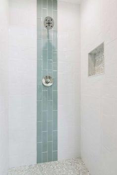 Bathroom shower focal point tile - Lake Shore Glass Subway Tile 3 x 12 in. Glass Tile Bathroom, Glass Subway Tile, Glass Tiles, Subway Tile In Shower, Tile Shower Shelf, Glass Floor, Bad Inspiration, Bathroom Inspiration, Bathroom Ideas