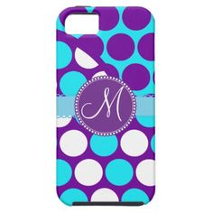 Custom Monogram Initial Teal Purple Polka Dots iPhone 5 Case