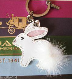 Coach Patent Leather Mink Fur Bunny Rabbit Key Chain Fob Charm Keychain