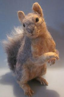 Life-sized Fox Squirrel needle felted by fiber artist Robin Andreae