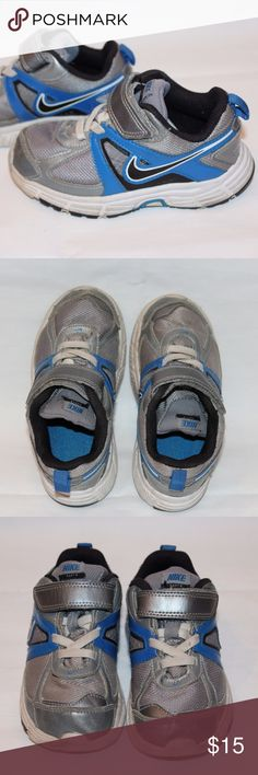 "NIKE shoes for toddler - Size 9C These have been lovingly used by my 3 year old son. Please see pictures for details. No rips or tears and very clean.  Elastic laces built in and velcro top closure made it very easy for him to get on and off while he has in that ""independent"" phase LOL!  Pet free, smoke free home Nike Shoes Sneakers"