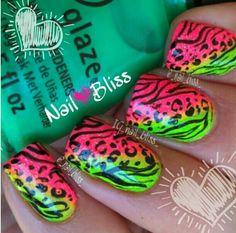 Pink & green zebra & cheetah