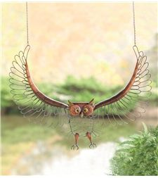 Flying Antique Metal Owl Wall Art