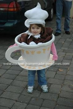 Hot Chocolate Costume: I knew I had to top my daughter's light up robot costume last year so I searched the web for fun costumes.  I saw a hot chocolate costume and knew I could