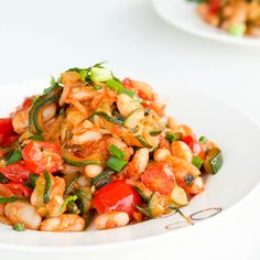 A new spin on ratatouille - made with zucchini, white beans and cherry tomatoes. #glutenfree #vegan #healthy and delicious