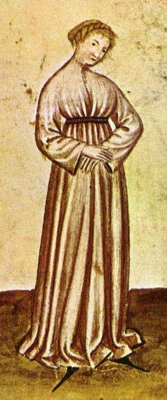 14th centuryTacuina sanitatis (XIV century)  Detail of an indiscreet young woman, from Image:46-aspetti di vita quotidiana, discrezione,Taccuino Sanitati.jpg