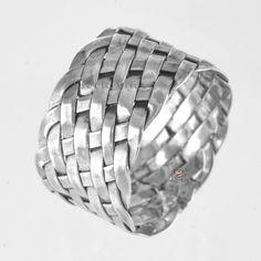 Mens woven silver ring Alliance argent Abidaêkö tresséeBagues argent