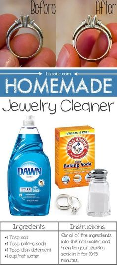 DIY Homemade Jewelry Cleaner for silver, diamonds, gold, etc. Easy way to clean your jewelry with products you have around your home. Safe ingredients for making homemade diy jewelry and accessories cleaner. Deep Cleaning Tips, House Cleaning Tips, Spring Cleaning, Cleaning Hacks, Cleaning Supplies, Diy Hacks, Diy Cleaning Rings, Cleaning Solutions, Cleaning Products