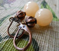 Jade Earrings Collection  Peaches Spring color by JoJosgems