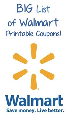 BIG List of Walmart Printable Coupons! #coupons