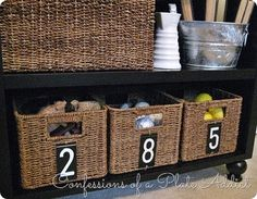 Numbered baskets made with mailbox numbers {PB Inspired}