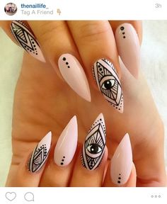 Best Stiletto Nail Art Designs 2019 - Page 23 of 33 - Chic Hostess Get Nails, How To Do Nails, Hair And Nails, Stiletto Nail Art, Nude Nails, Acrylic Nails, Stiletto Nail Designs, Pointed Nails, Colorful Nails