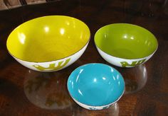 Hanova Dove Enamel Enamelware Bird Nesting Bowl Set 3 PC Mid Century Modern | eBay