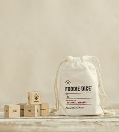 Foodie Dice™ (pouch) // Laser engraved wood dice for cooking inspiration // Foodie Gift, Chef Gift, Hostess gift or Mother's Day gift