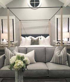 Sofa at the foot of the bed; another nice sitting area for bedroom. Bedroom Couch, Bedroom Decor, Bedroom Ideas, Small Bedroom Designs, Foot Of Bed, Pretty Bedroom, Down South, Guest Bedrooms, Master Bedrooms