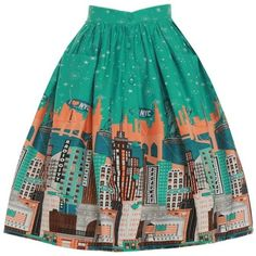 'Adalene' Green New York Print Swing Skirt ($22) ❤ liked on Polyvore featuring skirts, bottoms, юбки, green, pattern circle skirt, patterned skirts, swing skirt, green skirt and flared skirt