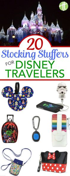 Disney Stocking Stuffer Gift Guide - Fill your family's stockings this Christmas holiday season with inexpensive Disney-themed travel gear they can use for their next trip to Walt Disney World, Disneyland, Aulani, Disney Cruise Line and beyond! Voyage Disney World, Walt Disney World, Disney World Gifts, Disney World Christmas, Disney Gift, Disney World Vacation, Disney Fun, Disney Vacations, Disney Trips